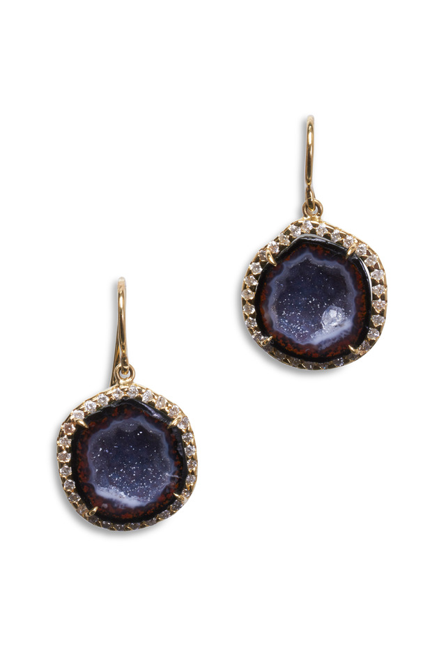 Yellow Gold Dark Geode Diamond Earrings