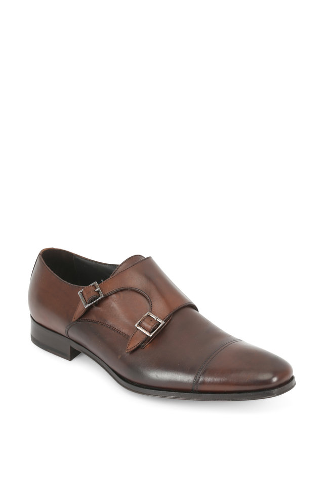 Grant Brown Leather Double Monk Strap Shoe