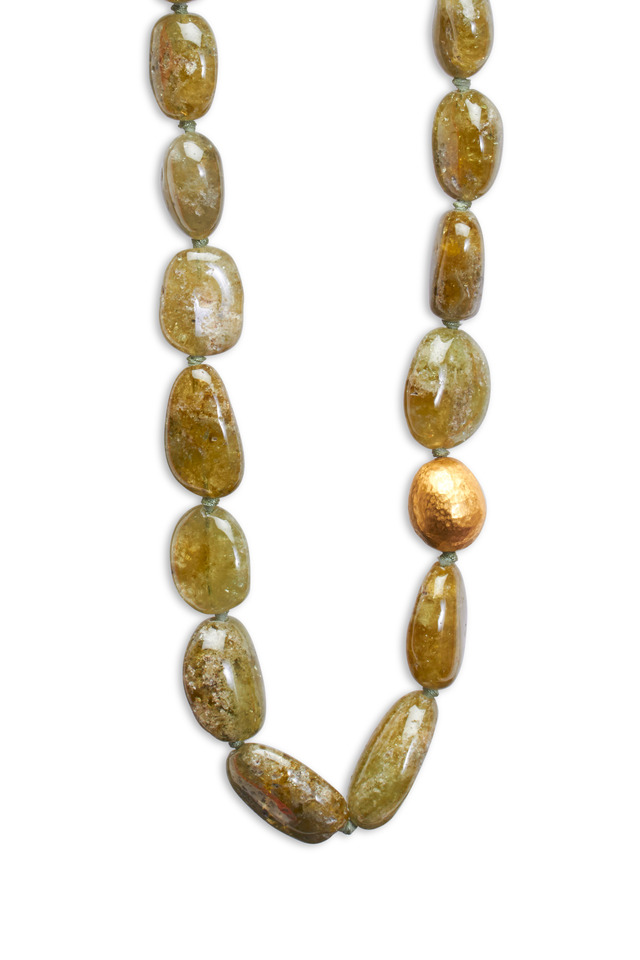 Yellow Gold Green Garnet Necklace