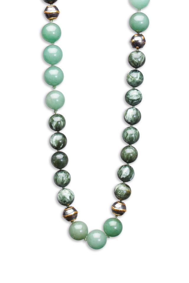 Green Charolite & Green Aventurine Wrap Necklace
