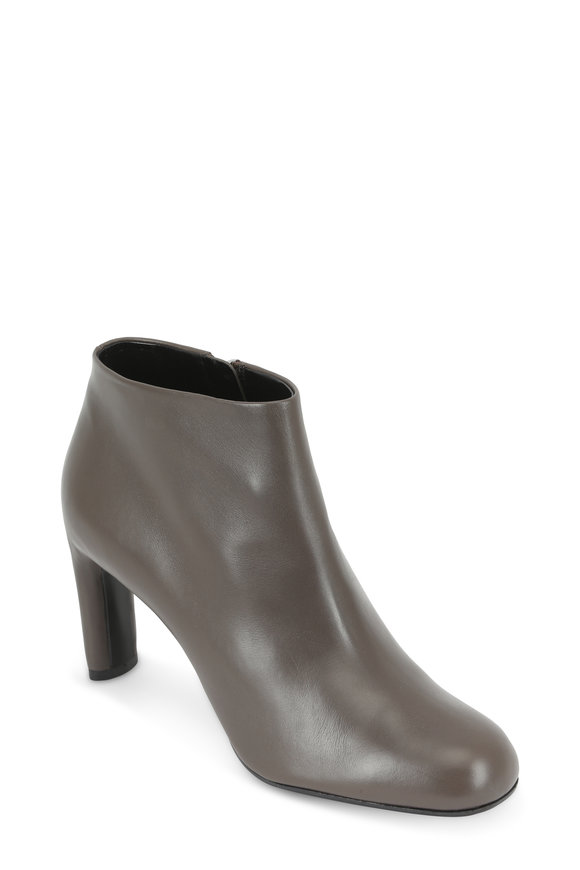 Giorgio Armani Gray Leather Ankle Boot, 80mm