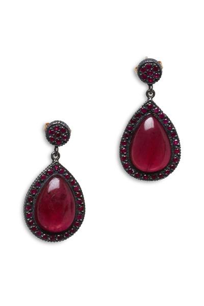 Yossi Harari - White Gold Pavé-Set Red Ruby Earrings