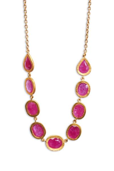 Yossi Harari - Carmen Yellow Gold Ruby Necklace