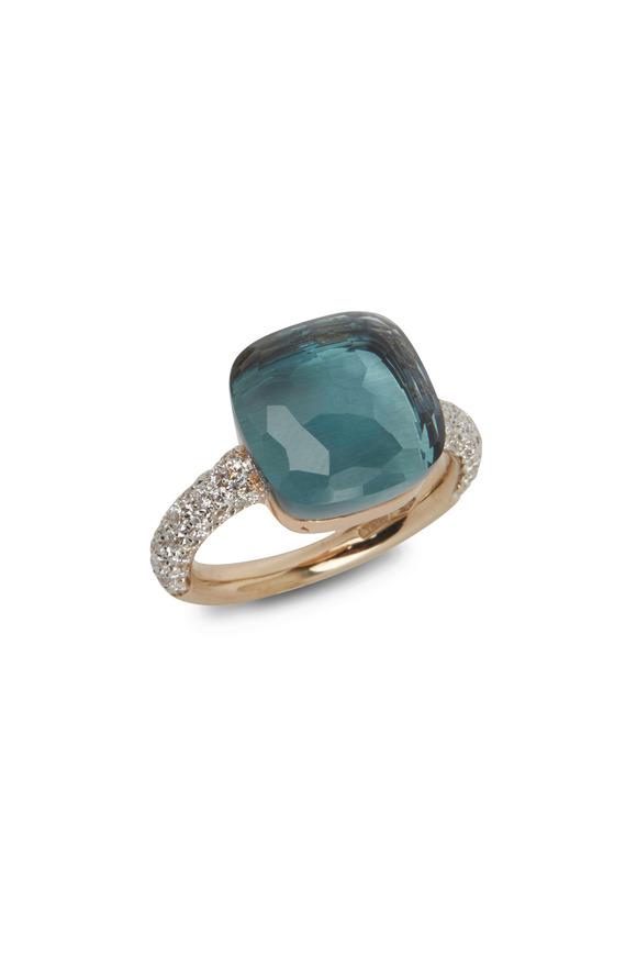 Pomellato Nudo 18K Rose Gold Large Blue Topaz Diamond Ring
