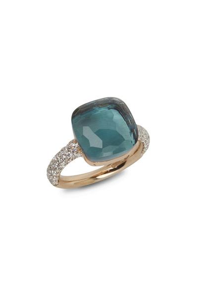 Pomellato - Nudo 18K Rose Gold Large Blue Topaz Diamond Ring
