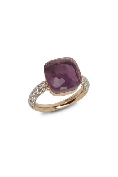 Pomellato - Nudo 18K Rose Gold Large Amethyst Diamond Ring