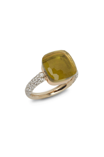 Pomellato - Nudo 18K Rose Gold Large Lemon Quartz Diamond Ring