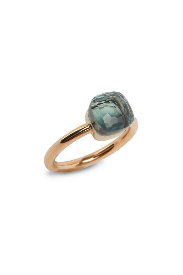 Pink Gold Small Blue Topaz Ring
