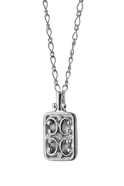 Monica Rich Kosann - Silver White Sapphire Gate Locket Necklace