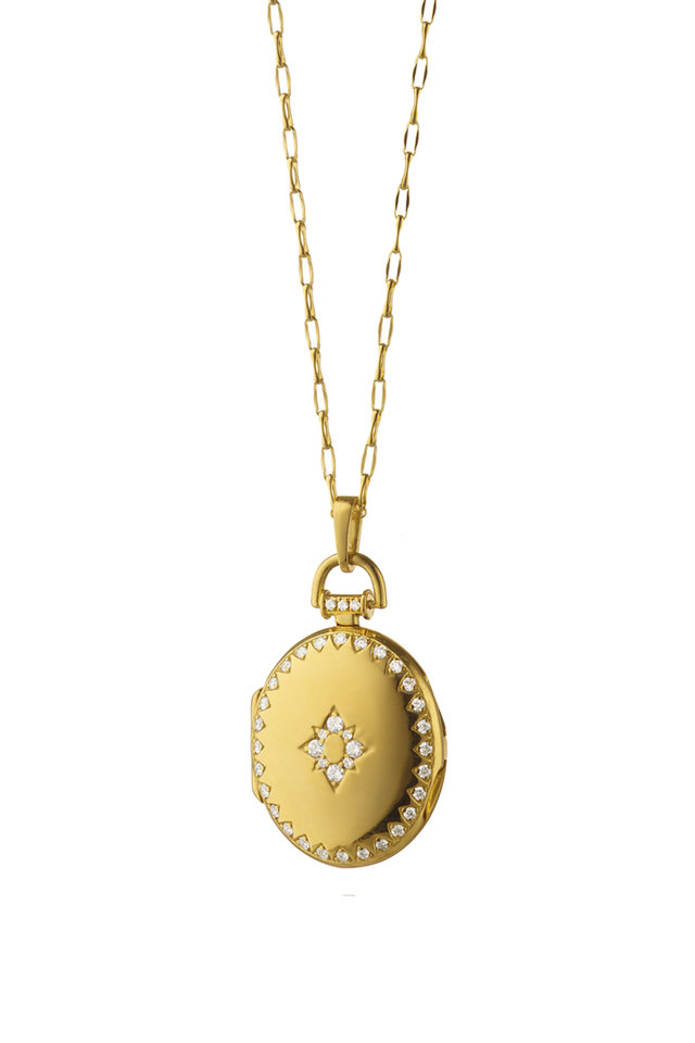 18K Gold Diamond Petite Snowflake Locket Necklace