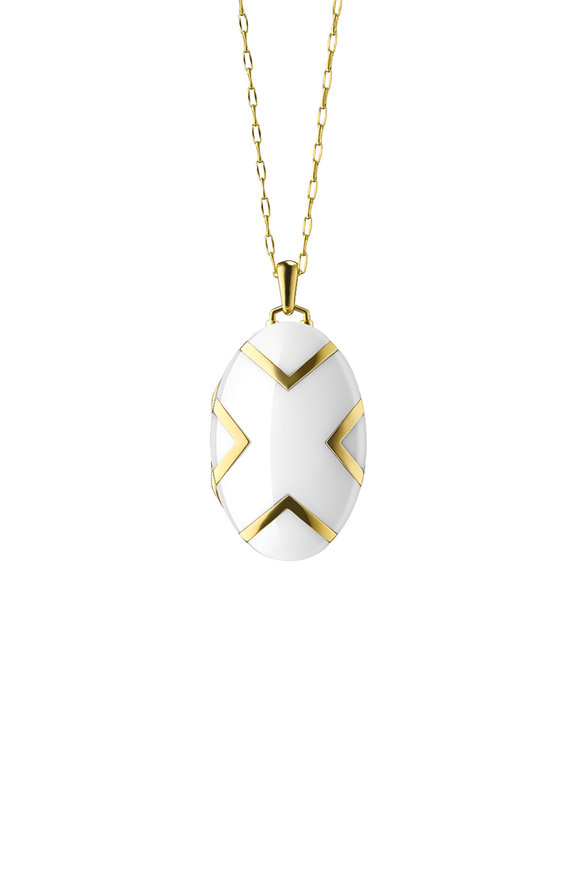 Monica Rich Kosann 18K Yellow Gold Ceramic Pendant Necklace