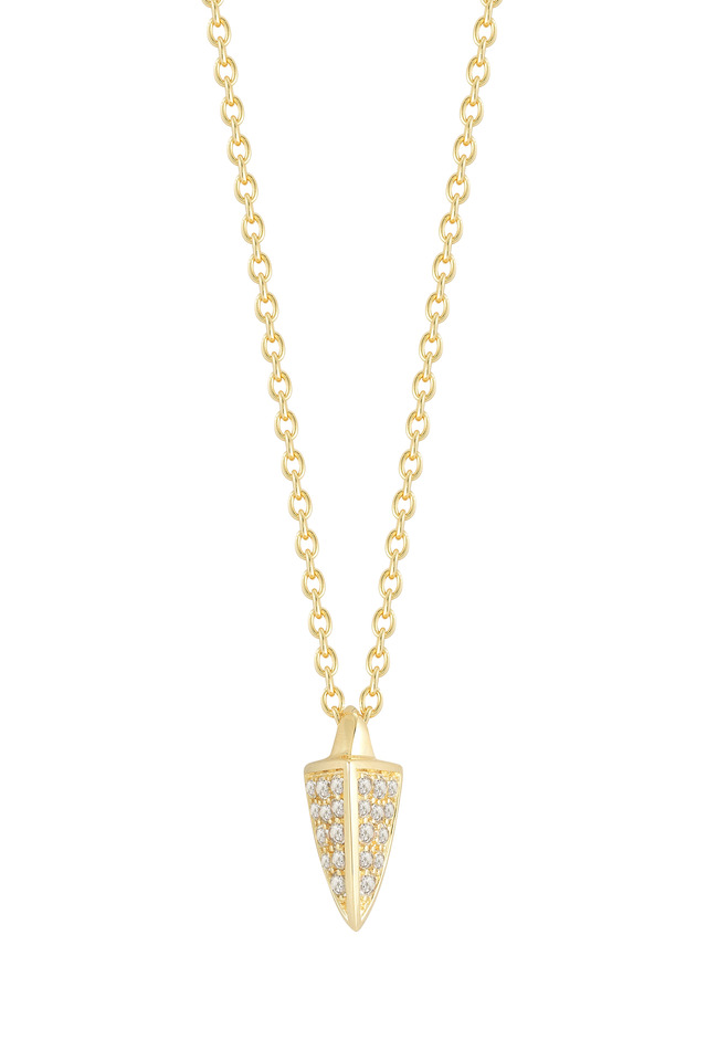 Bauhaus Gold Pavé-Set White Topaz Vogel Pendant