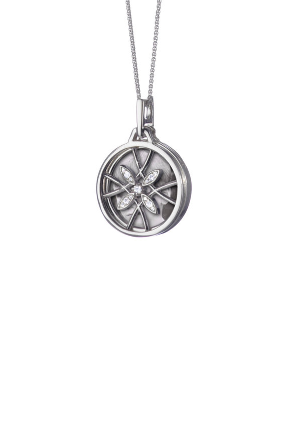 Monica Rich Kosann Sterling Silver White Sapphire Locket Necklace
