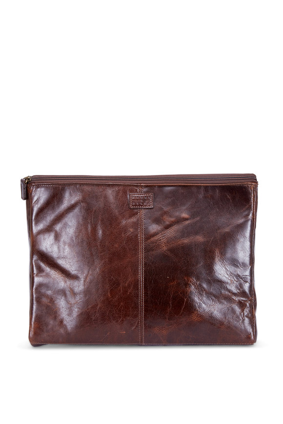 Moore & Giles Brompton Brown Leather Laptop Case