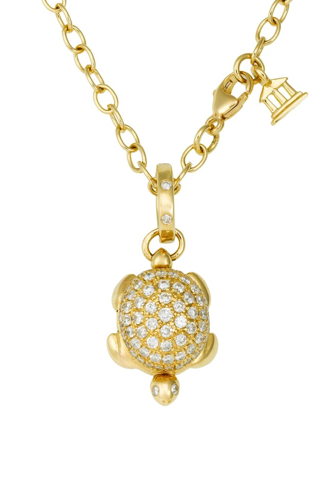 Yellow Gold Pavé-Set Diamond Turtle Locket