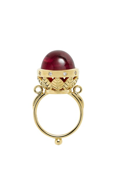 Temple St. Clair - 18K Yellow Gold Rubelite & Diamond Arcadia Ring