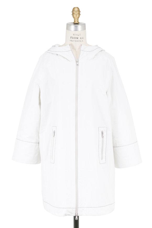 Brunello Cucinelli White Taffeta Three-Quarter Sleeve Hooded Jacket