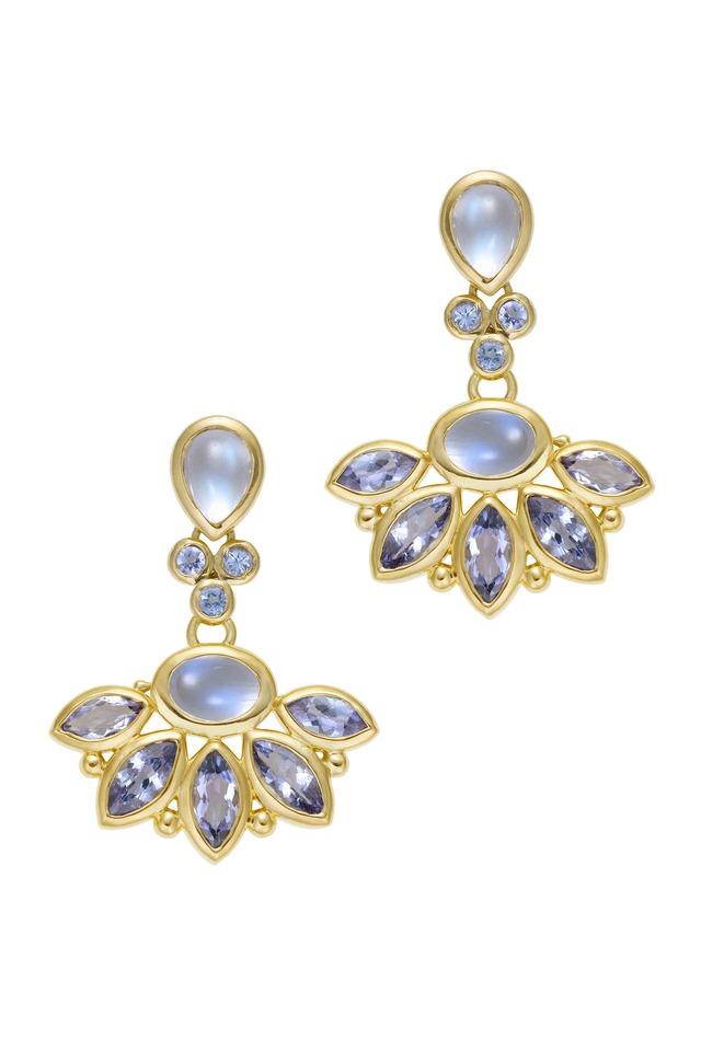 18K Phoenix Wing Moonstone & Tanzanite Earrings