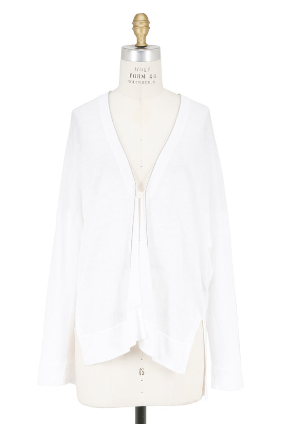 Brunello Cucinelli White Linen Blend Oversized Cardigan
