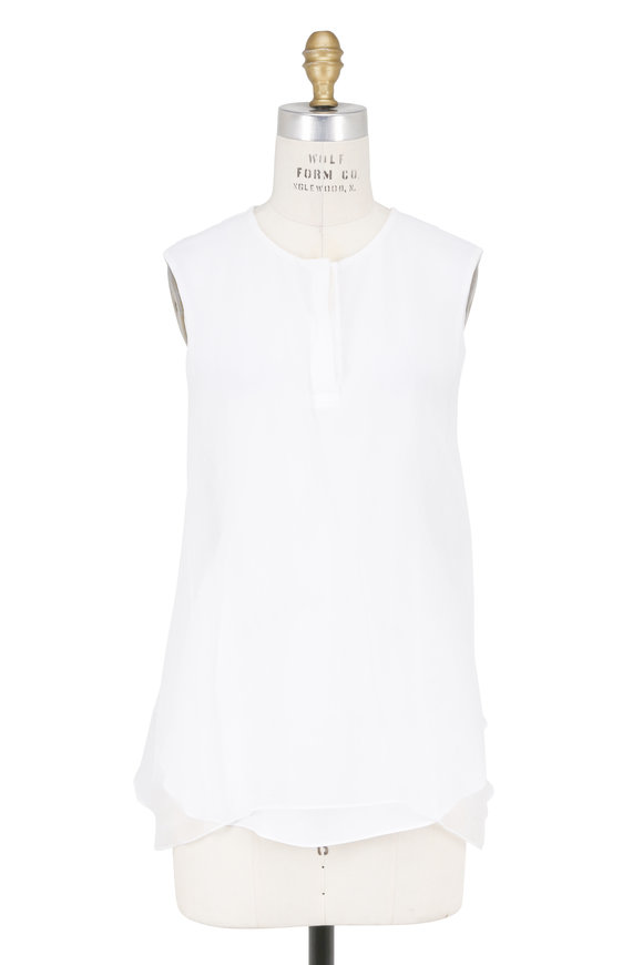 Brunello Cucinelli White Silk Double-Layer Sleeveless Blouse