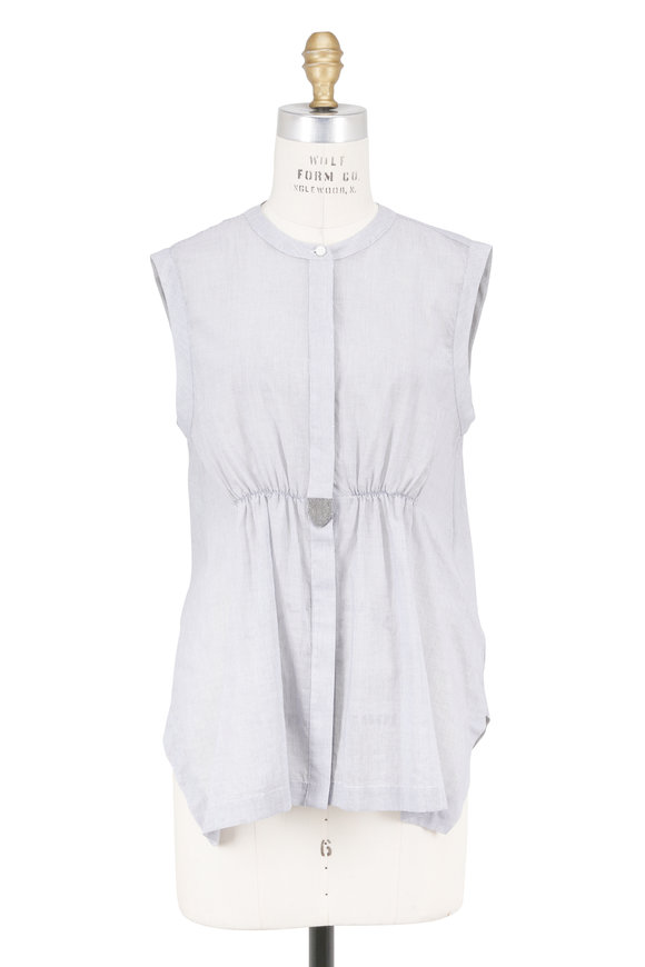 Brunello Cucinelli Gray & White Cinched Waist Sleeveless Blouse