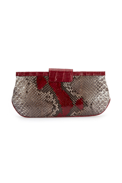 Nancy Gonzalez - Red Python Crocodile Tab Clutch