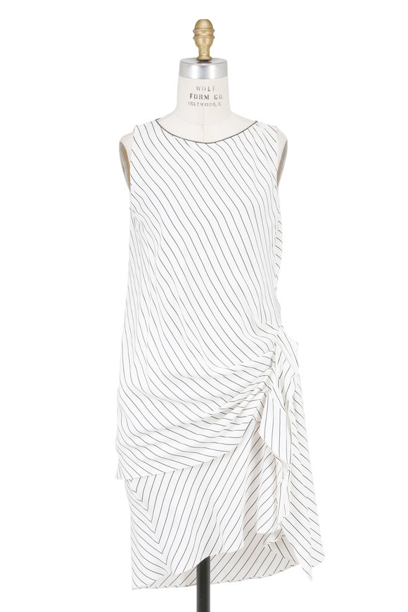 Brunello Cucinelli White & Black Silk Striped Gathered Side Dress