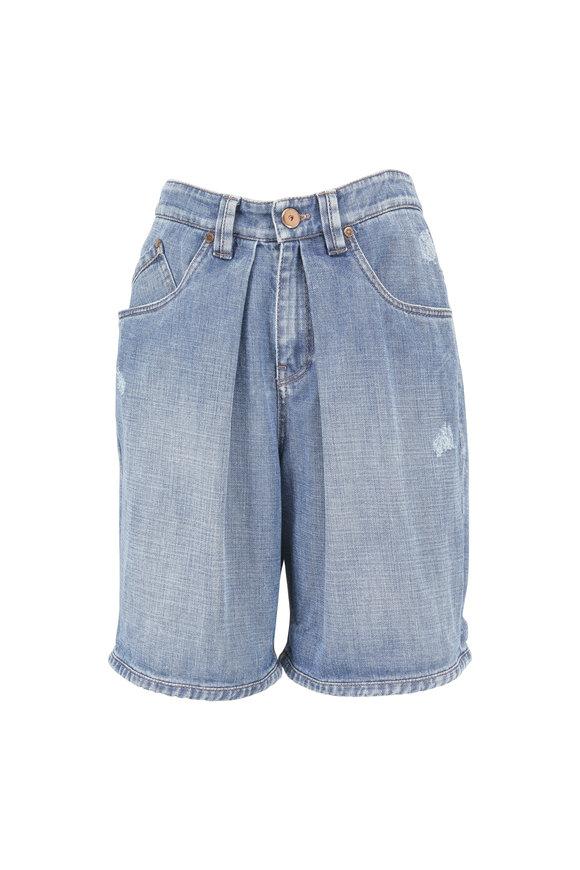 Brunello Cucinelli Blue Pleated Denim Shorts