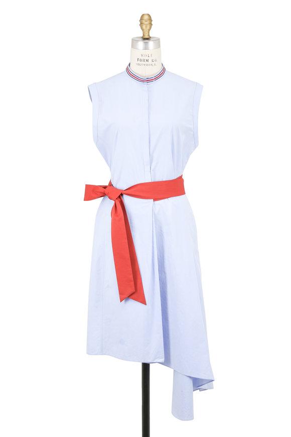 Brunello Cucinelli Cloud Blue Cotton Belted Sleeveless Dress