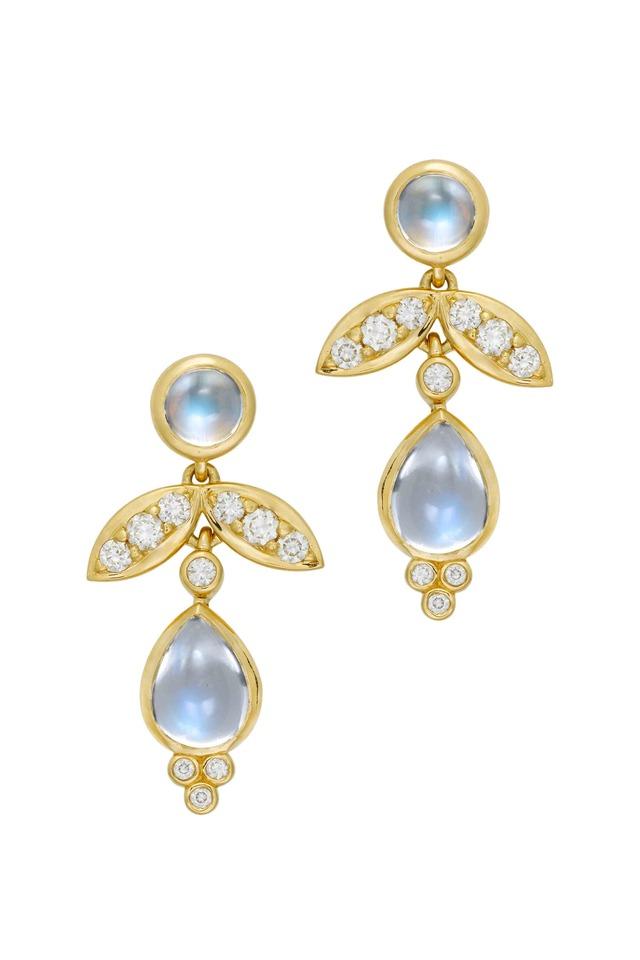 18K Gold Foglia Moonstone & Diamond Drop Earrings