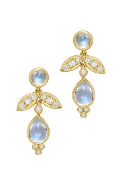 Temple St. Clair - 18K Gold Foglia Moonstone & Diamond Drop Earrings