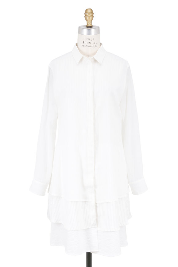 Brunello Cucinelli Ivory Cotton Layered Hem Shirtdress