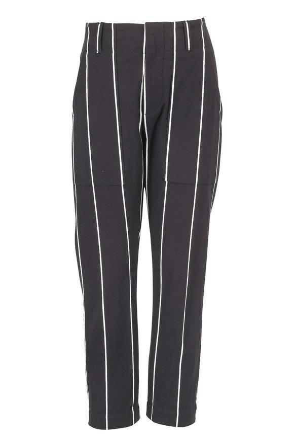 Brunello Cucinelli Black & White Striped Cotton Pant
