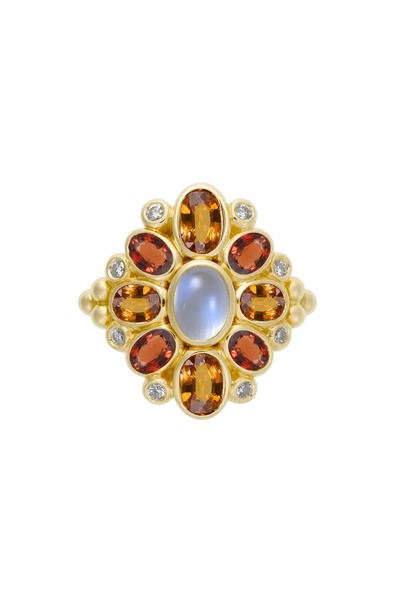 Temple St. Clair - Anima Cluster Sapphire & Moonstone Diamond Ring