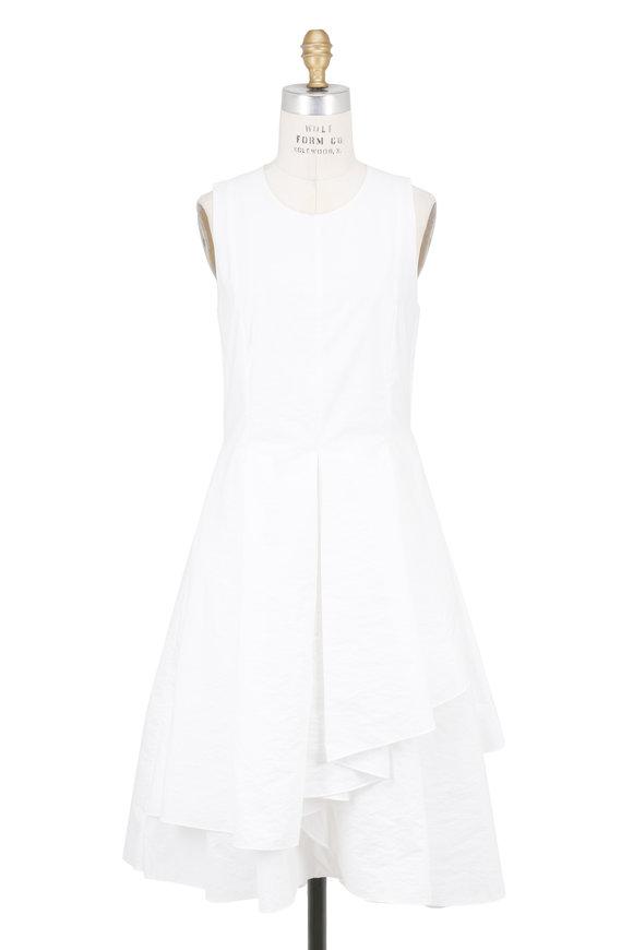 Brunello Cucinelli White Cotton Tiered Sleeveless Dress