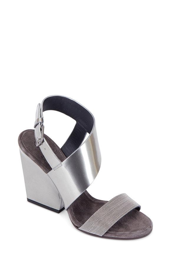 Brunello Cucinelli Glossy Silver Asymmetric Heel Sandal, 100mm