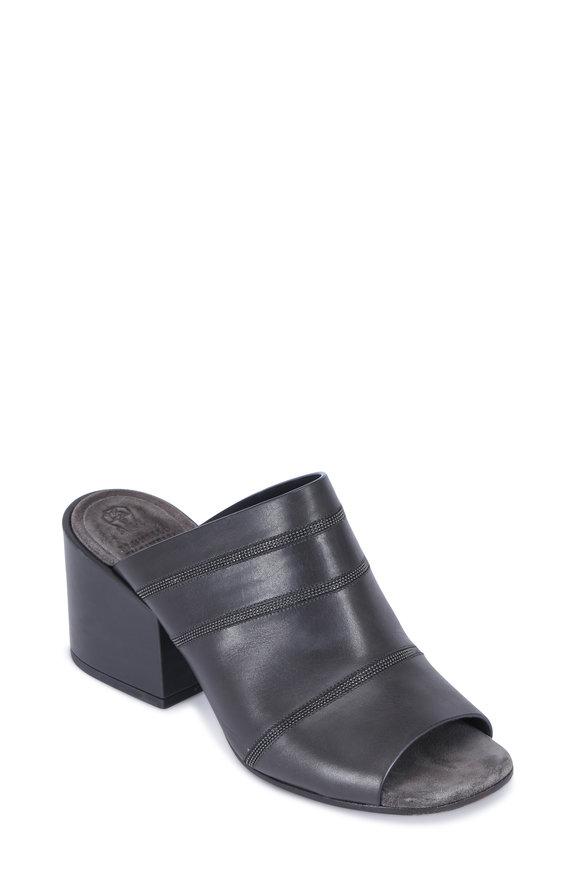 Brunello Cucinelli Graphite Leather Monili Mule, 65mm