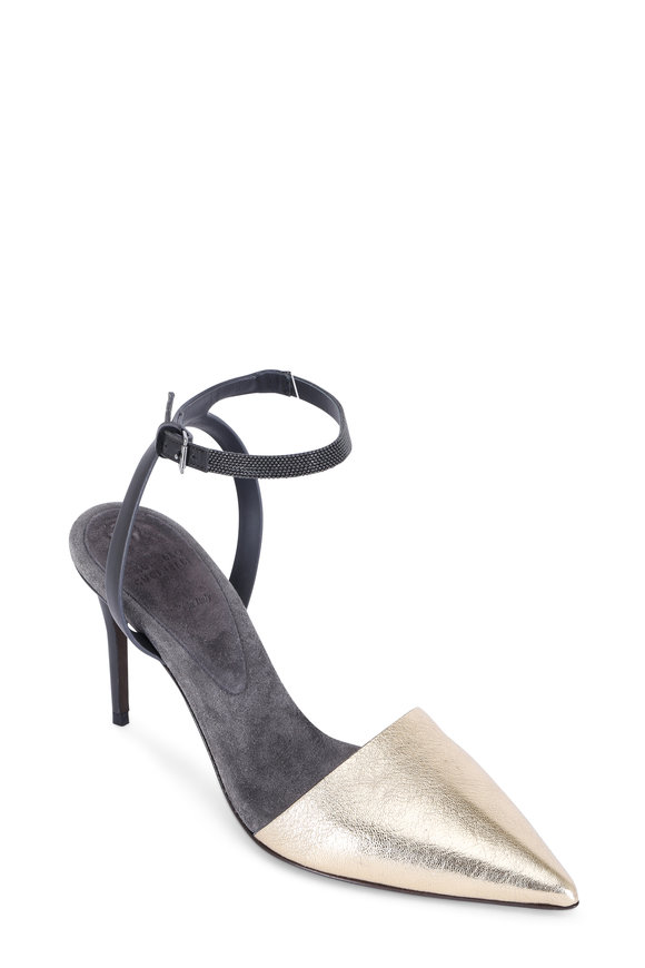 Brunello Cucinelli Gold Leather Pointed Toe Ankle Wrap Slingback,85mm