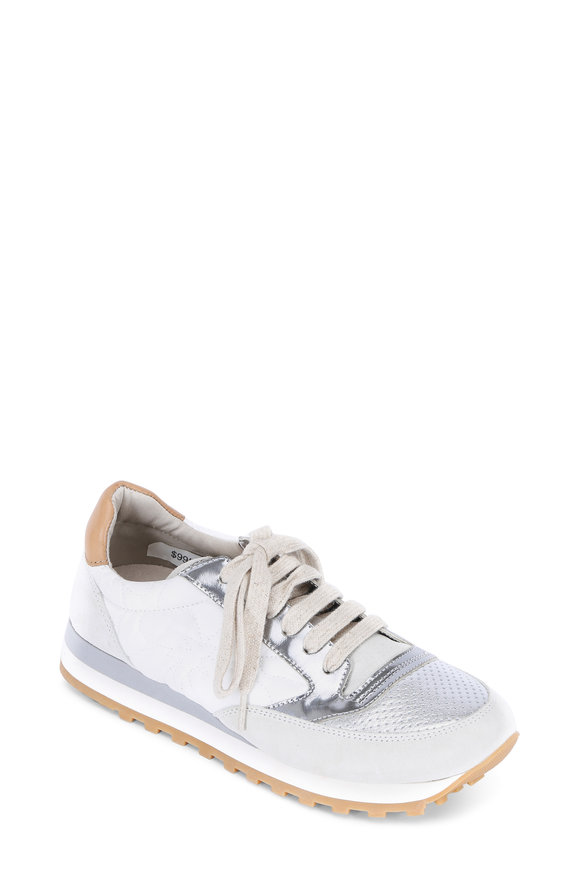 Brunello Cucinelli Silver Metallic & White Leather Trainer