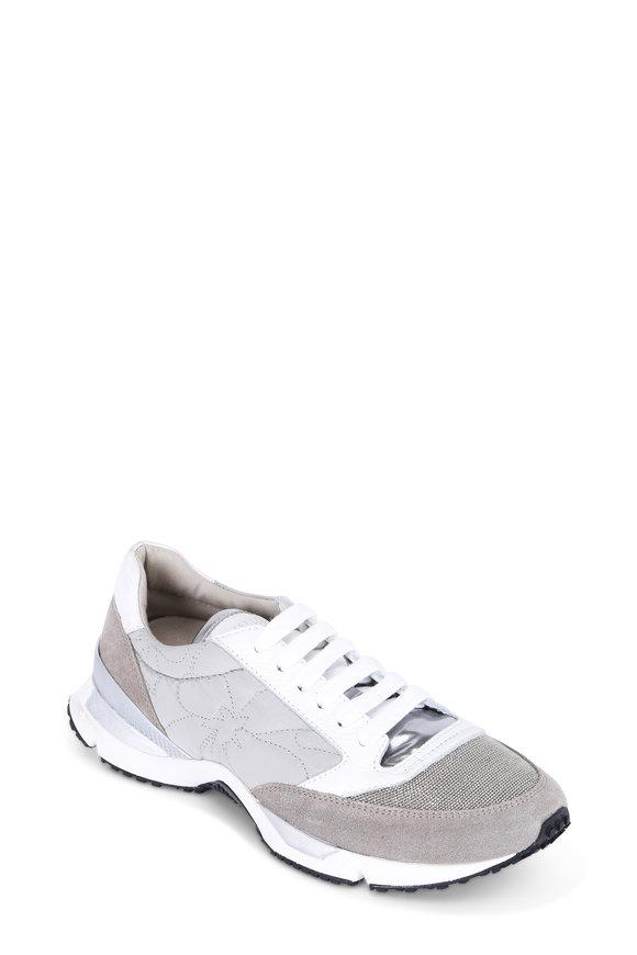 Brunello Cucinelli Light Gray Leather & Suede Monili Toe Trainer