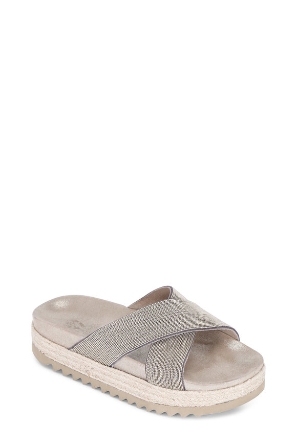Brunello Cucinelli Gold Criss-Cross Monili Slide