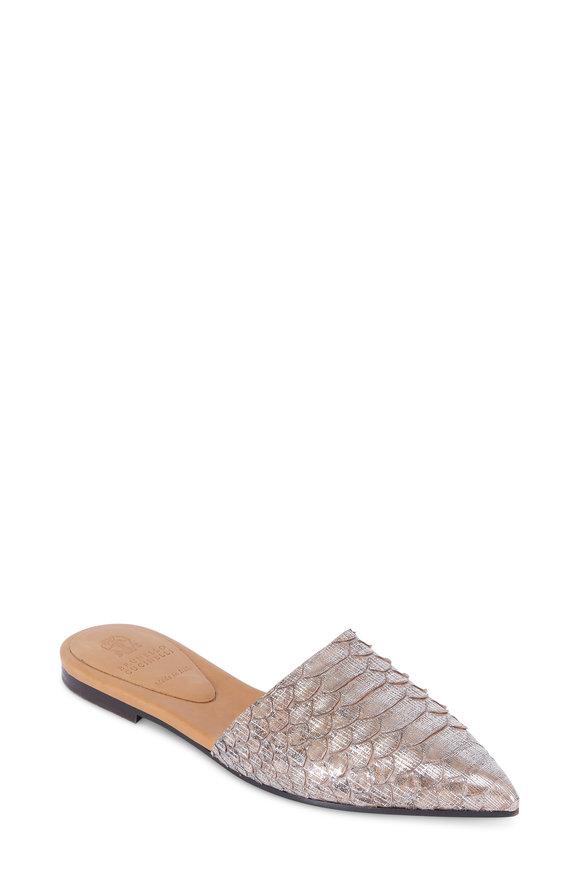Brunello Cucinelli Gunmetal Python Pointed Toe Slide