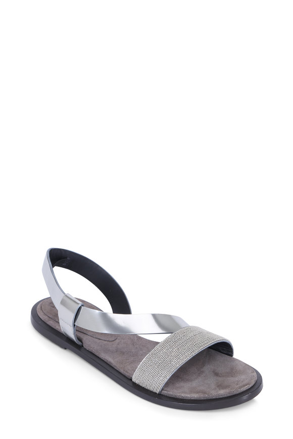 Brunello Cucinelli Silver Leather Monili Band Sandal