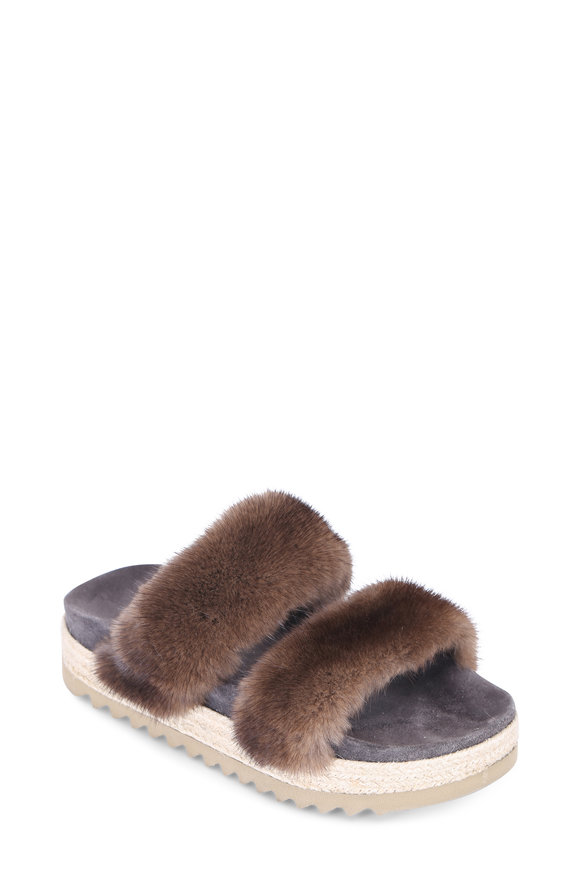Brunello Cucinelli Brown Mink Two Band Slide
