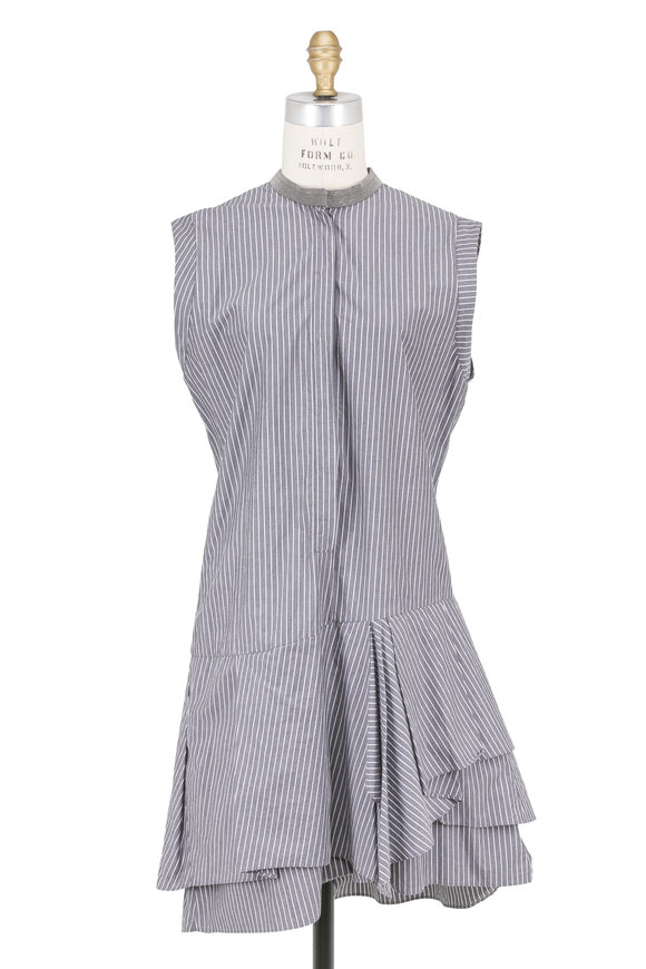 Brunello Cucinelli Gray Cotton Striped Ruffled Sleeveless Dress