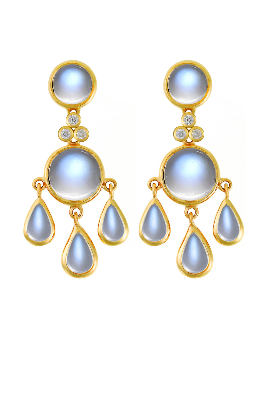 Blue Moonstone Gold Diamond Earrings