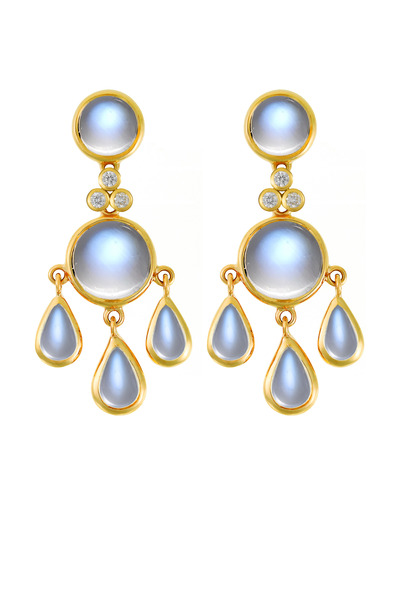 Temple St. Clair - Blue Moonstone Gold Diamond Earrings
