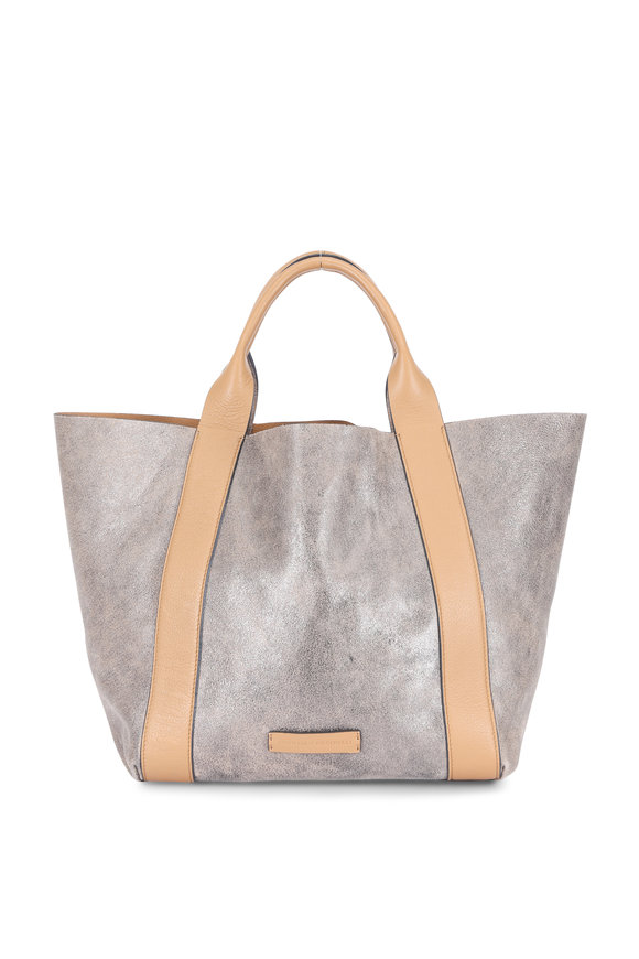 Brunello Cucinelli Gunmetal Suede & Leather Reversible Small Tote