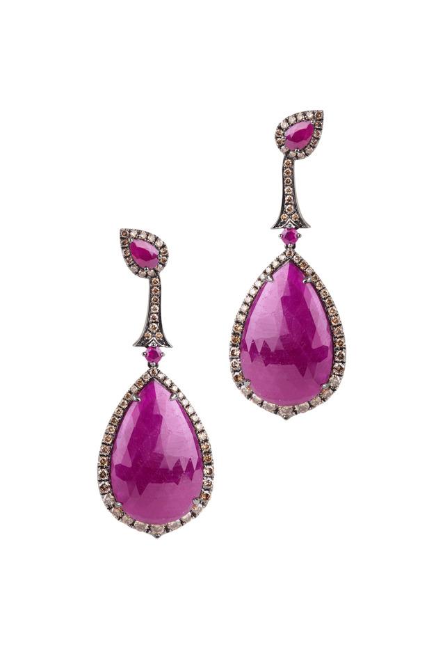 White Gold Royal Ruby Diamond Earrings