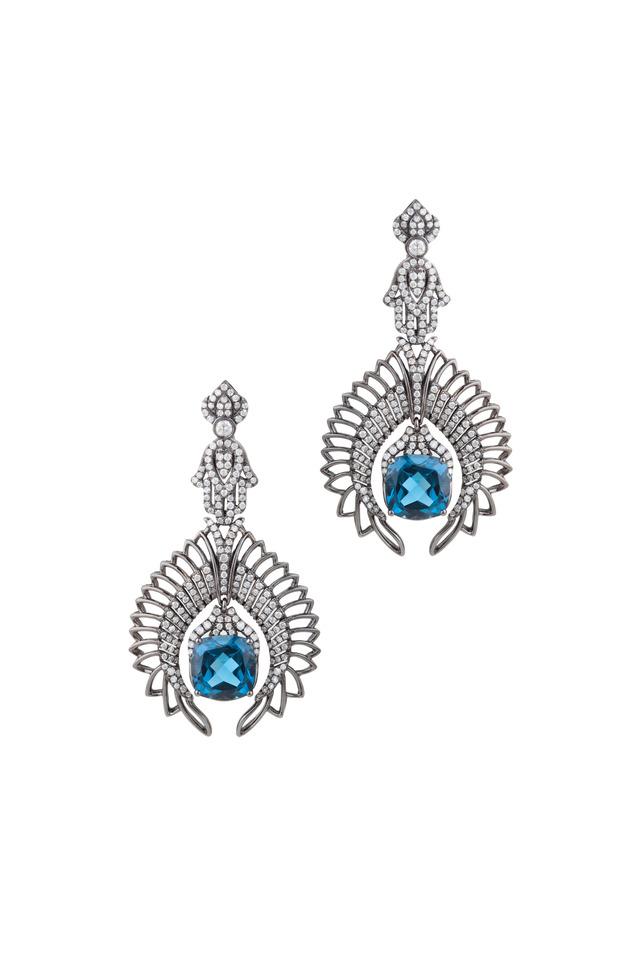 White Gold London Blue Topaz Diamond Earrings